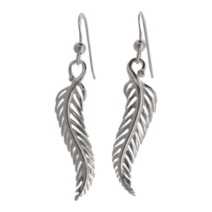 Sterling Silver Long Leaf Drop Earrings