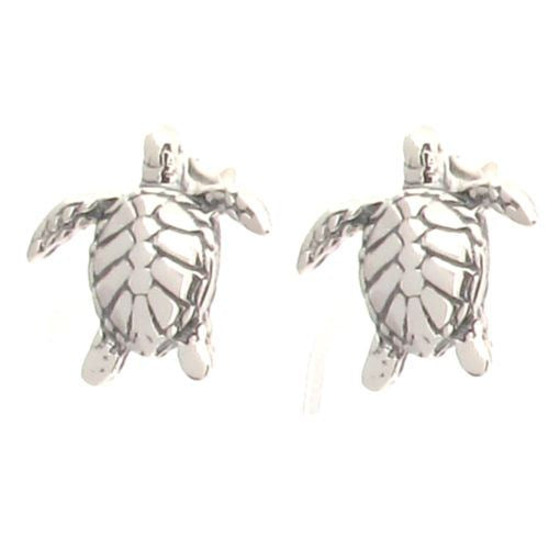 Sterling Silver Turtle Tortoise Design Post Earrings