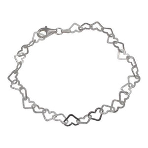Sterling Silver Heart Link Bracelet with Hammered Finish