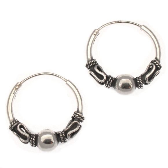 Sterling Silver Indo Bali Style Hoop Earrings with Ball | 16mm