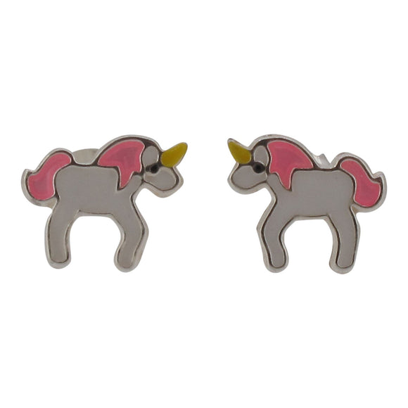 Sterling Silver and Enamel Unicorn Stud Earring