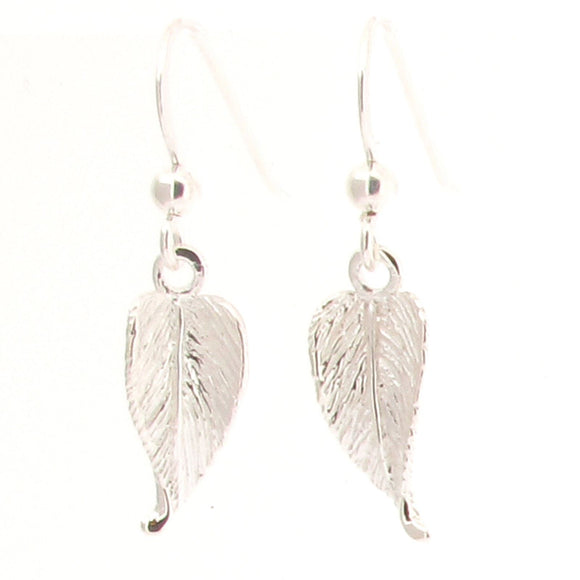 Sterling Silver Leaf Design Drop Earrings