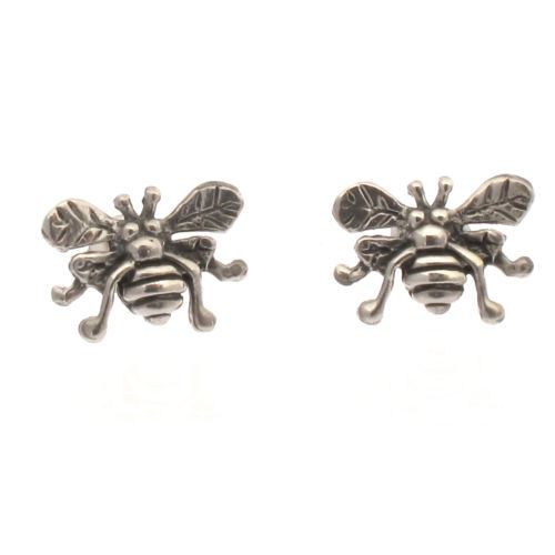Sterling Silver Honey Bee Design Stud Earrings