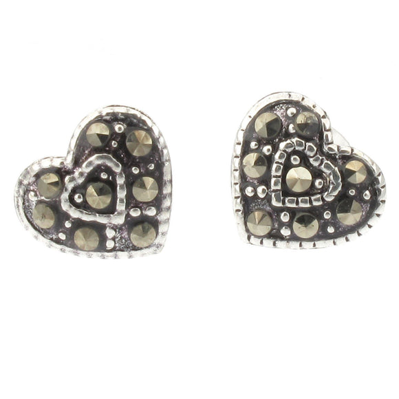 Sterling Silver Heart Design Stud Earrings with Marcasite