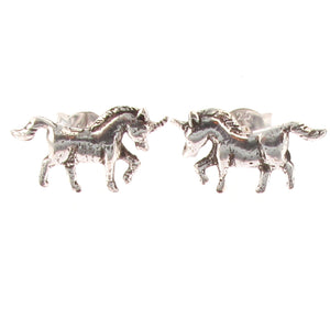 Sterling Silver Unicorn Stud Earrings