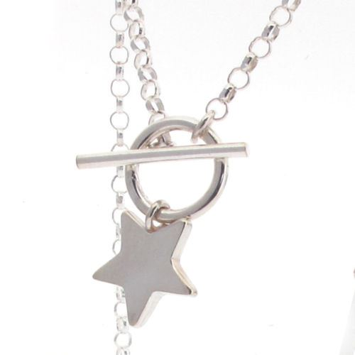 Sterling Silver Belcher Chain with T-Bar and Star