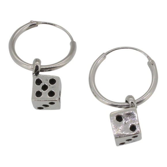 Sterling Silver Hoop Earrings with Dangling Dice Charm