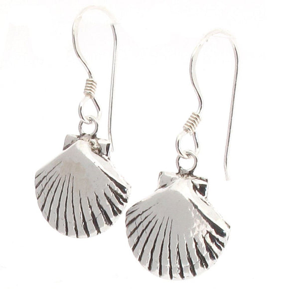 Sterling Silver Sea Shell Scallop Design Drop Earrings