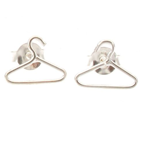 Sterling Silver Coat Clothes Hanger Design Stud Earrings