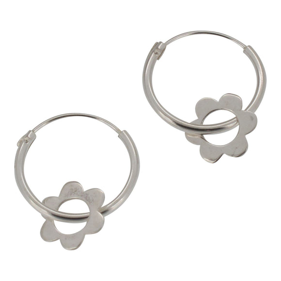 Sterling Silver Hoop Earrings with Dangling Flower Charm