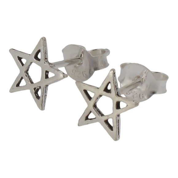 Sterling Silver Pentagram Stud Earrings