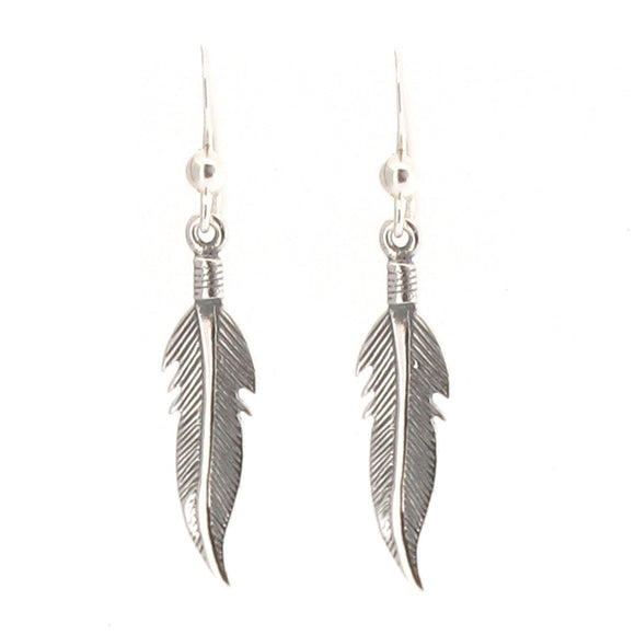 Sterling Silver Feather Design Drop Earrings