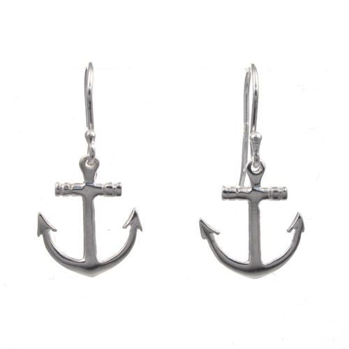 Sterling Silver Anchor Drop Earrings