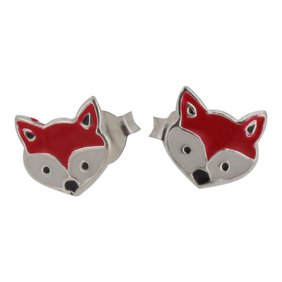 Sterling Silver Fox Stud Earrings with Enamel