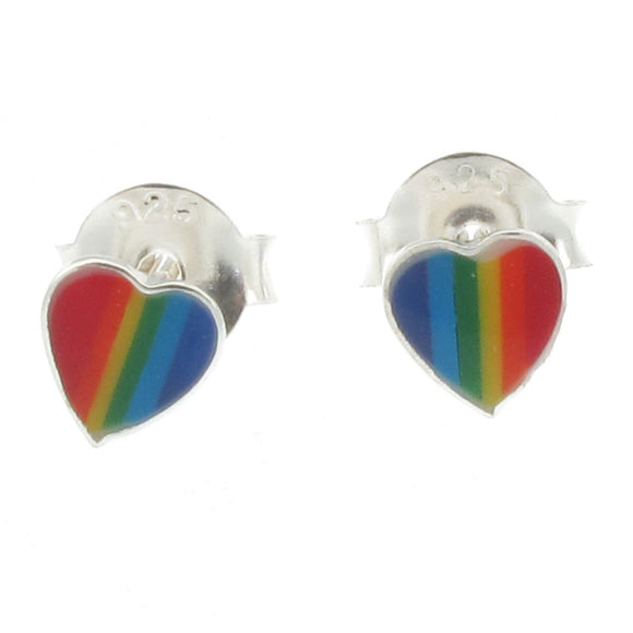 Sterling Silver Rainbow Heart Design Stud Earrings