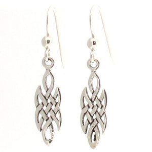 Sterling Silver Celtic Irish Knot Work Drop Earrings - Dangle Dangling Style 925