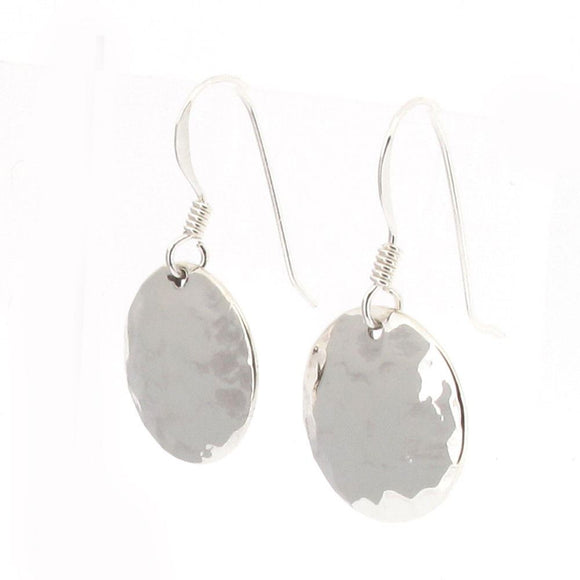 Sterling Silver Hammered Finish Disc Drop Earrings