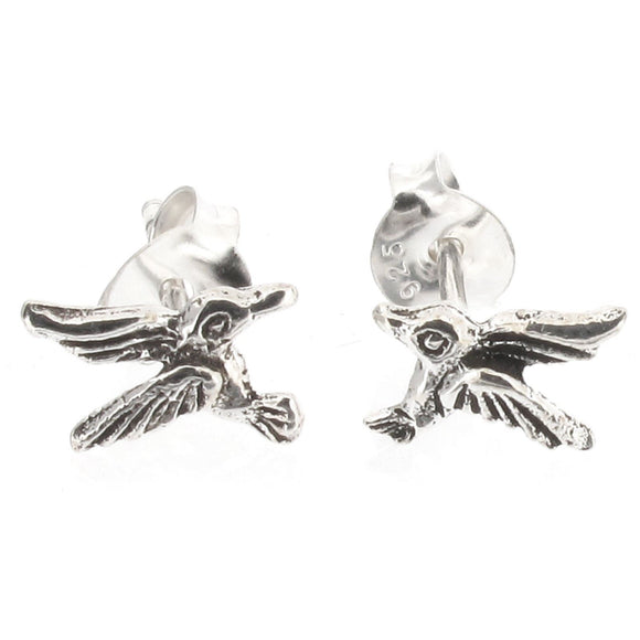 Sterling Silver Humming Bird Design Stud Earrings