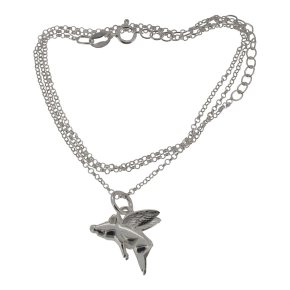 Sterling Silver Flying Pig Mini Pendant and Chain