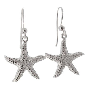 Sterling Silver Starfish Design Drop Earrings