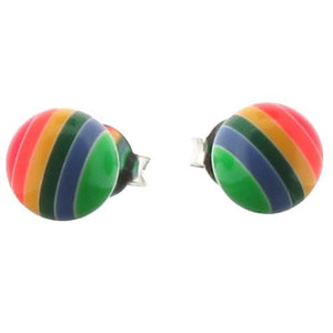 Sterling Silver and Resin Rainbow Ball Stud Earrings