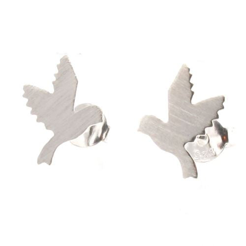 Sterling Silver Dove Of Peace Stud Earrings