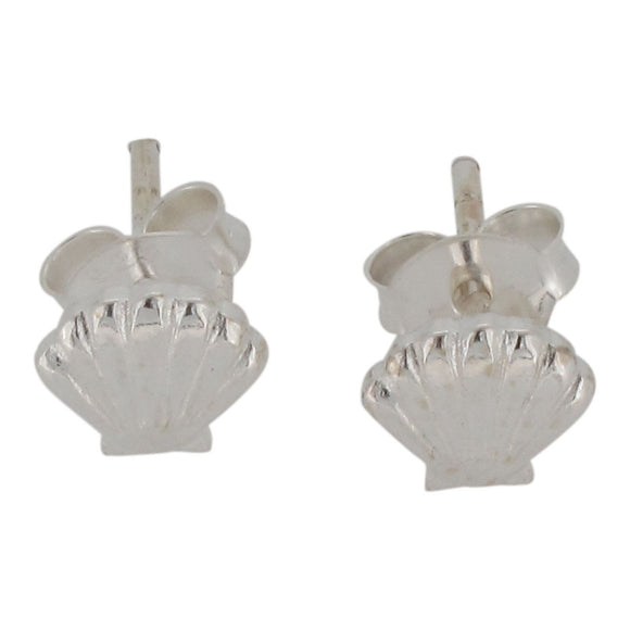 Sterling Silver Sea Shell Design Stud Earrings
