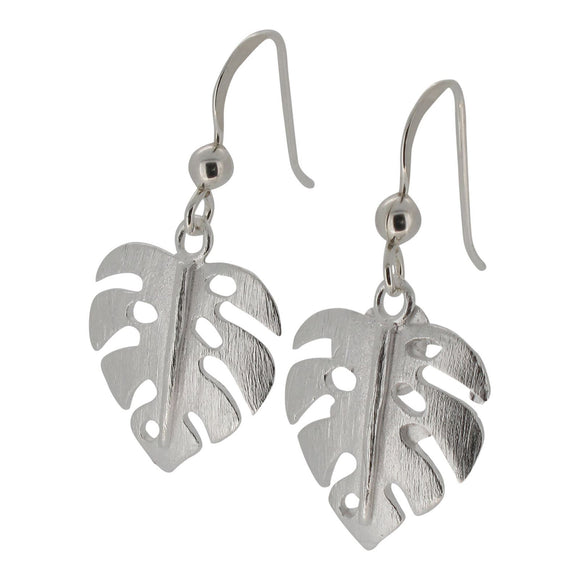 Sterling Silver Monstera Leaf Design Drop Earrings with Matt Finish