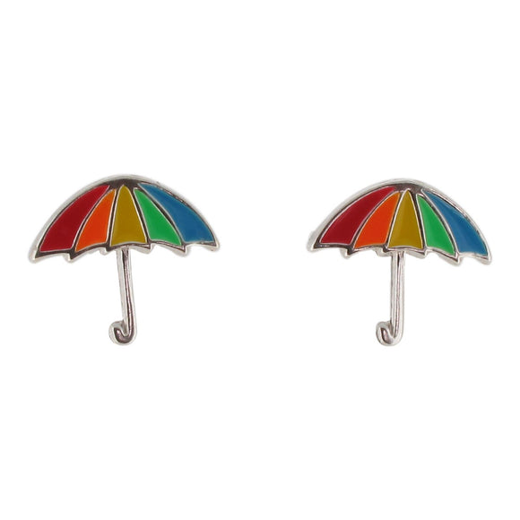 Sterling Silver Rainbow Umbrella Design Stud Earrings with Enamel