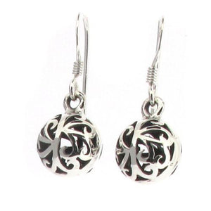 Sterling Silver Filigree Ball Design Drop Earrings