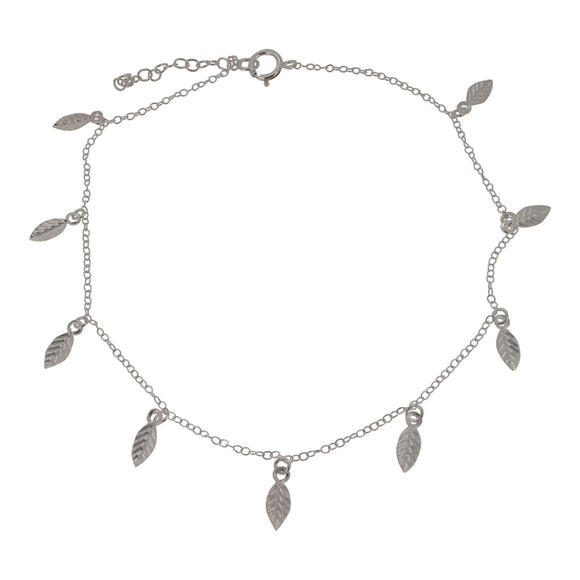 Sterling Silver Leaf Design Ankle Chain