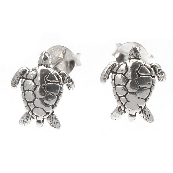 Sterling Silver Turtle Design Stud Earrings