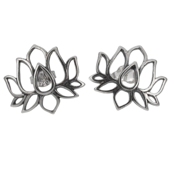 Sterling Silver Lotus Design Stud Earrings