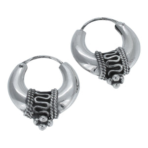 Sterling Silver Bali Style Creole Hoop Earrings