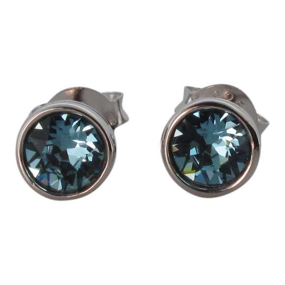 Sterling Silver Stud Earrings with Round Cut Crystal - Aquamarine