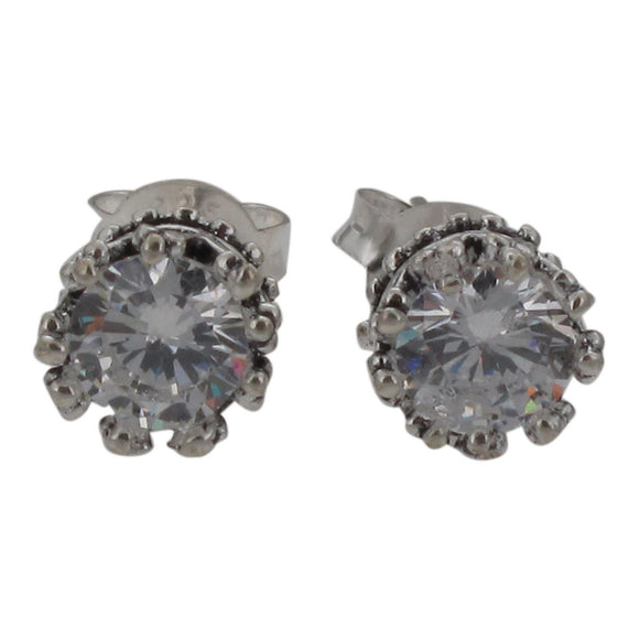 Sterling Silver Crown Design Stud Earrings Set with Crystal