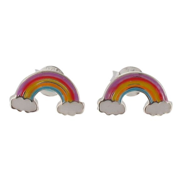 Sterling Silver Rainbow and Clouds Stud Earrings with Enamel