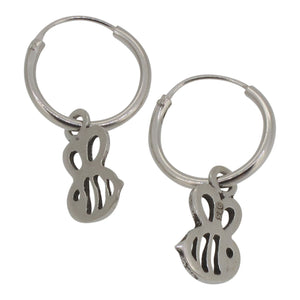 Sterling Silver Hoop Earrings with Dangling Bee Charm