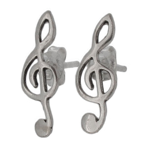 Sterling Silver Treble Clef Stud Earrings