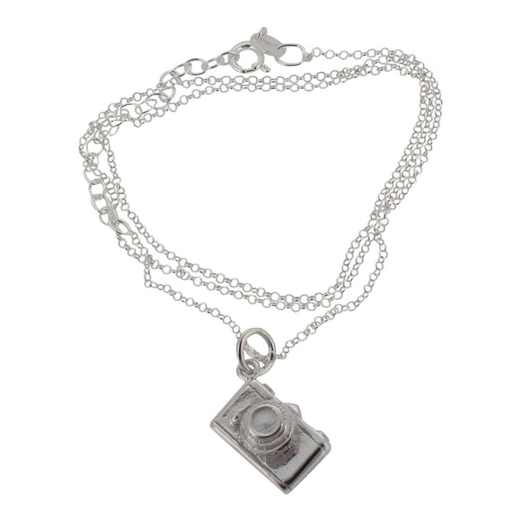 Sterling silver camera pendant and chain