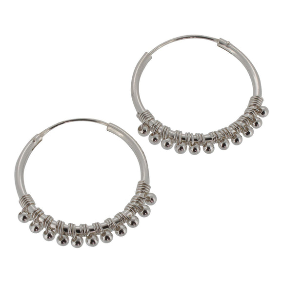 Sterling Silver Hoop Earrings with Bead Detail