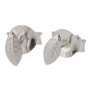 Sterling Silver Tiny Leaf Design Stud Earrings