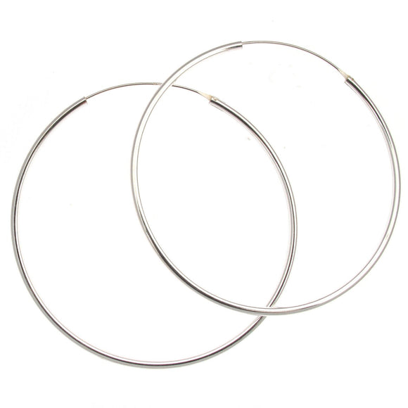 Sterling Silver Plain Hoop Earrings | 65mm