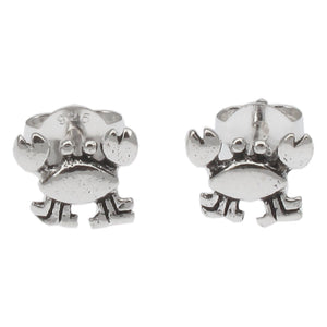 Sterling Silver Crab Design Stud Earrings - Tiny and Cute Crustacian 7 x 6mm