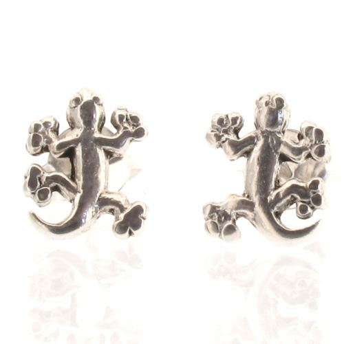 Sterling Silver Gecko Lizard Stud Earrings