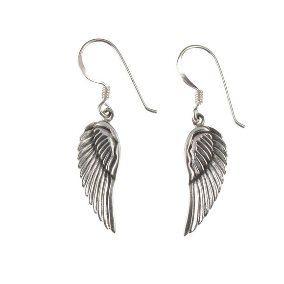 Sterling Silver Angel Wings Drop Earrings