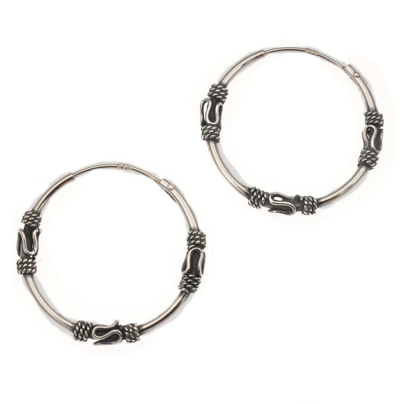 Sterling Silver Indo Bali Style Hoop Earrings | 21mm
