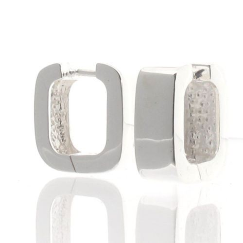 Sterling Silver Chunky Square Cut Huggie Style Earrings