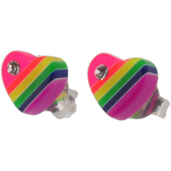 Sterling Silver and Resin Rainbow Heart Stud Earrings with Crystal