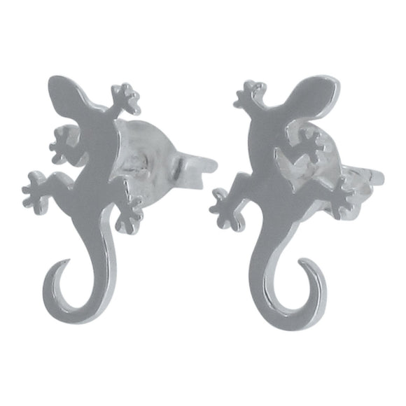 Sterling Silver Gecko Lizard Design Stud Earrings
